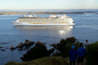 The Ovation of the Seas arrives in the Bay of Islands, off Tapeka Pt, at 7am this morning.PHOTO/PETER DE GRAAF.