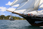 The Spirit of New Zealand under full sail in Saturday's Tall Ships and Classic Invitational Race in the Bay of Islands, with the R Tucker Thompson in the background. Photo / Stephen Western