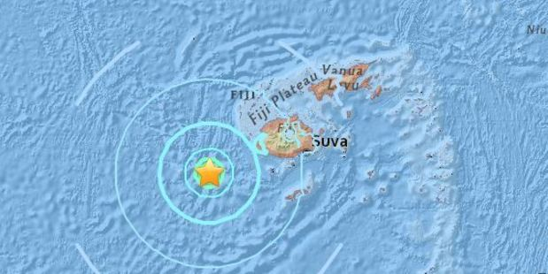 Today's quake's epicentre was 152km south west of the city of Nadi, according to the United States Geological Survey. It struck about 6pm at a depth of 10km. Photo / USGS