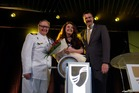 Captain Mark Dexter, Sarah Brightman and Rick Meadows. Photo / Supplied