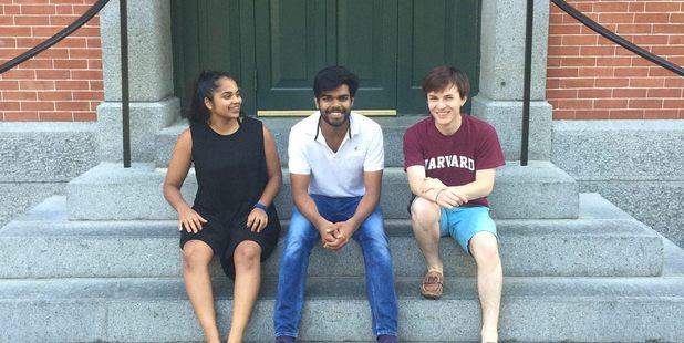 Soumil Singh with Sharndre Kushor and Jamie Beaton of Crimson Consulting at Harvard University. Photo / supplied