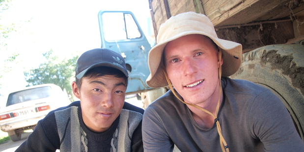 Peak to Plateau founder Stefan Warnaar (right) with a local in Kyrgyzstan, central Asia.