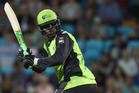 Carlos Brathwaite of the Thunder bats during the Big Bash League match between the Hobart Hurricanes and the Sydney Thunder. Photo / Getty