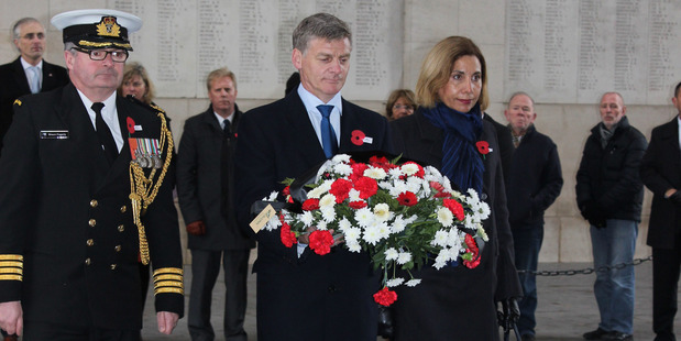 Bill and Mary English lay a wreath at the Menin Gate at Ypres, Belgium. Photo / Claire Trevett