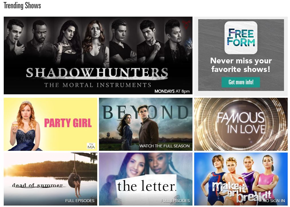 Freeform has a variety of different television series on their website. Photo / Freeform website