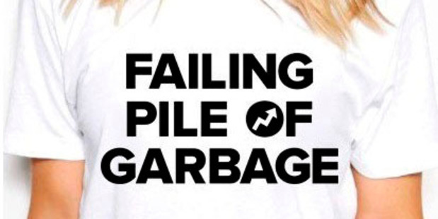"A BuzzFeed ""failing pile of garbage"" T-shirt. Photo / Courtesy of BuzzFeed"