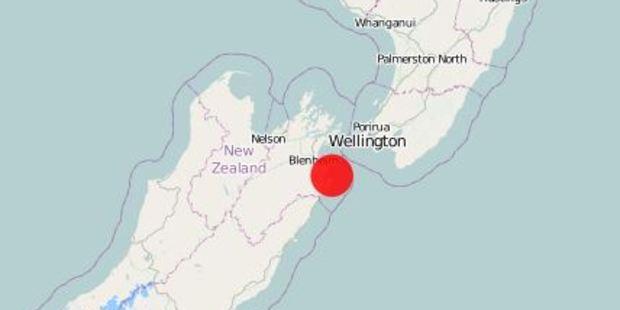 The earthquake was 15km east of Seddon and 11km deep. Image / GeoNet