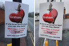 Dozens of laminated posters have appeared around Warwick which appear to be the work of a woman scorned by her cheating partner. Photos / Facebook