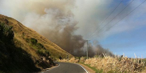 Thick smoke colours the sky at Mahanga. Photo / Karen McGregor