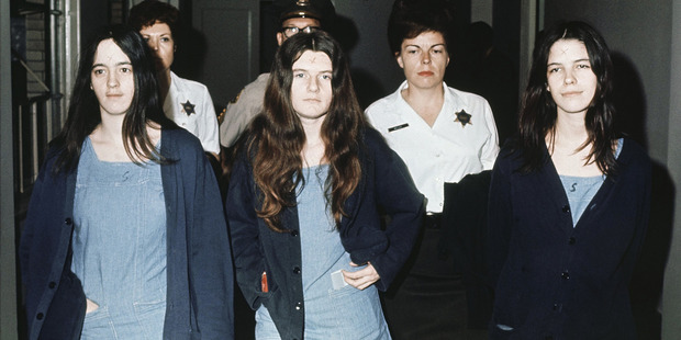 Three female defendants in the Manson court case are shown, from left to right: Susan Atkins, Patricia Krenwinkel, Leslie Van Houten. Photo / AP