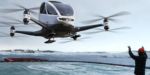 the personal transport drone has now flown over 200 tests - both with and without pilot. Photo / Echang YouTube