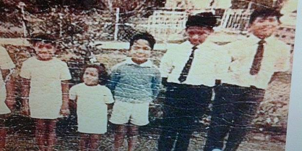 Miller Patane, far right, and Moana Patane Gasu, second from left, with some of their siblings in the late 1960s or early 1970s. Photo / Supplied.