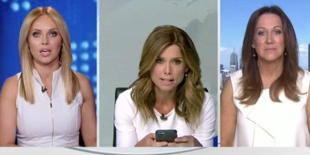 Loading Nine's Amber Sherlock blasted colleague Julie Snook for wearing a similar outfit. Photo / Channel 9