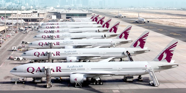 A line of Qatar aircraft at the airlines' hub in Doha, Qatar.