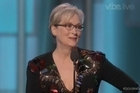 """Footage from Sky.   Meryl Streep has used her acceptance speech at the Golden Globes to slam Donald Trump and his attitude to the press and foreigners.  Streep, accepting the Cecil B. DeMille Lifetime Achievement Award at the Golden Globes today, spent much of her speech picking apart Trump.  Picking up on something Hugh Laurie said earlier, Streep began by pointing out to the celebrities and press assembled that they were """"the most vilified section of American society"""".  She said that while Hollywood is looked at as a glamorous institution, many celebrities, including herself and Viola Davis who presented her with the award, came from very modest backgrounds."""