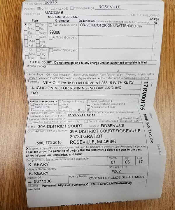 A motorist is outraged after he was handed a $128 ticket (pictured) for leaving his car to warm up on his own driveway. Photo / Nick Taylor Facebook