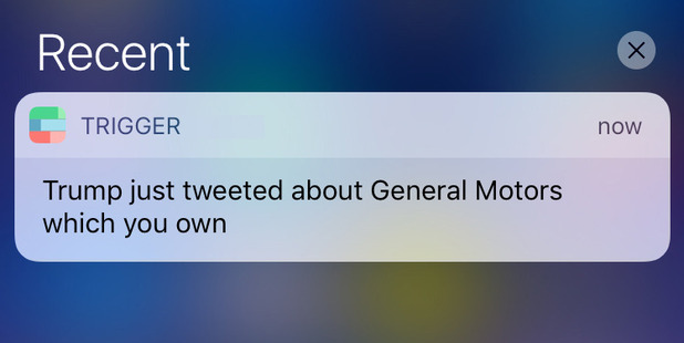 This app will notify you if Trump tweets about a company you're invested in.
