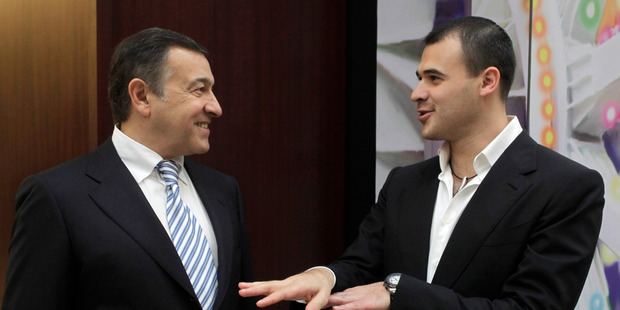 Billionaire Aras Agalarov, owner of Crocus Group, left, with his son, Emin Agalarov, co-owner of Vegas mall, in Moscow in 2010. Photo / Alexander Zemlianichenko Jr, Bloomberg.
