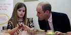 Prince William chats to Aoife about the loss of his mother as they take part in an art project and urges her not to bottle up her feelings over the loss of her father. Photo / Getty Images