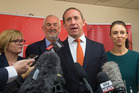 Labour leader Andrew Little, with deputy leader Jacinda Ardern, at the Labour Party offices in Wellington. Photo / Mark Mitchell