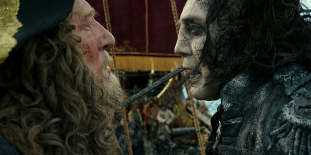 Geoffrey Rush and Javier Bardem face off in Pirates of the Caribbean: Dead Men Tell No Tales