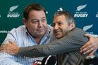 All Blacks coach Steve Hansen hugs All Blacks Assistant Coach Wayne Smith. Photo / Brett Phibbs