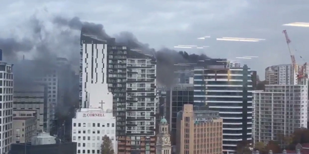 Fire in Auckland CBD, Mayoral Drive
