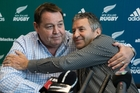 All Blacks head coach Steve Hansen (left) and defence guru Wayne Smith embrace after yesterday's announcement. Photo / Brett Phibbs