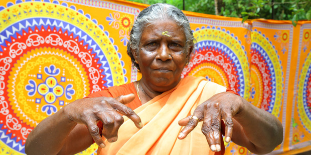 Lakshmi, 68, is a member of the Kannathu clan from a small village in Alappuzha in southern India. Photo / Caters