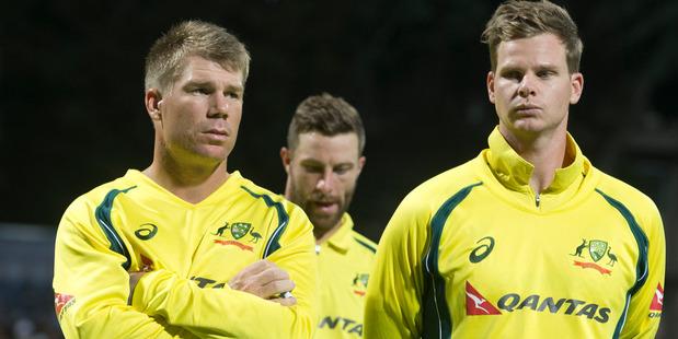 Australian cricketers David Warner and Steve Smith. Photo / Alan Gibson