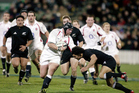 Phil Vickery on the charge as England beat the 2003 All Blacks - beyond that is a no-go area for Lions coach Warren Gatland. Photo / Photosport