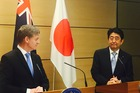 Prime Minister Bill English and Japanese Prime Minister Shinzo Abe after talks today in Tokyo. Photo/Supplied