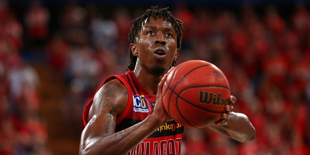 Jaron Johnson of the Wildcats shoots a free throw against the Breakers. Photo / Getty Images