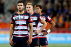 Melbourne Rebels players in the midst of another loss. Photo / Getty