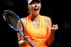 Maria Sharapova celebrates during the Porsche Tennis Grand Prix. Photo / Getty Images