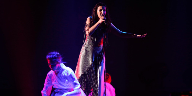 The flasher interrupted the performance of Ukranian singer Jamala, winner of the 2016 Eurovision competition. Photo / Getty