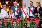 Queen Sonja, King Harald, Emma Tallulah Behn, Crown Princess Mette-Marit, Crown Prince Haakon and Princess Martha Louise attend the official Gala dinner at the Royal Palace. Photo / Getty