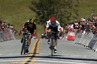 Rafal Majka of Poland and Bora-Hansgrohe outsprints George Bennett of New Zealand and LottoNL-Jumbo. Photo / Getty