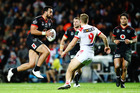 Ben Matulino of the Warriors charges forward during the round 11 NRL match. Photo / Getty Images