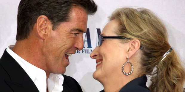 Actor Pierce Brosnan and actress Meryl Streep attend the photocall for 'Mamma Mia! The Movie' in 2008. Photo / Getty