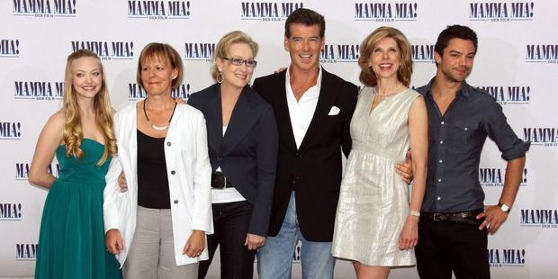 Actress Amanda Seyfried, director Phyllidia Lloyd, actress Meryl Streep, actor Pierce Brosnan, actress Christine Branski and actor Dominic Cooper at their Mamma Mia! premiere. Photo / Getty