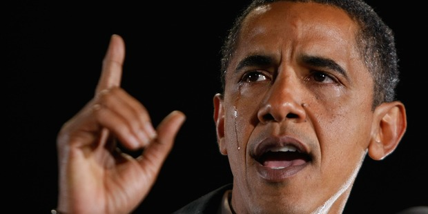Barack Obama cried during a speech about his grandmother. Photo / Getty
