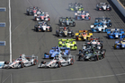Will Power leads the field into Turn 1 for the start of the Grand Prix of Indianapolis. Photo / AP
