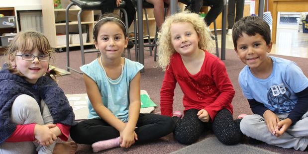 Montessori students, from left, Evelyn Williamson, 6, Tara Maxwell, 6, Lily Bethwaite, 6, and Flynn Maxwell, 6.