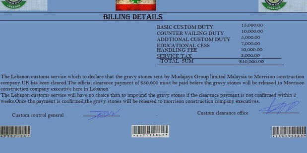 A fake financial document for the Malaysian building company. Photo / Supplied