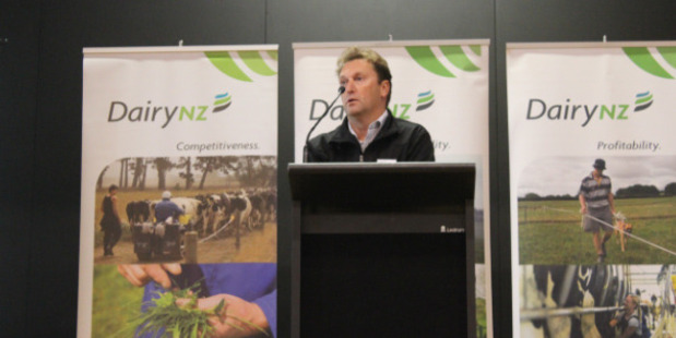DairyNZ senior economist Matthew Newman talked to farmers at the Farmers Forum. Photo / Nicole Sharp