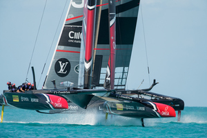 Emirates Team New Zealand sailing on Bermuda's Great Sound practice racing in the lead-up to the 35th America's Cup. Photo/Photosport