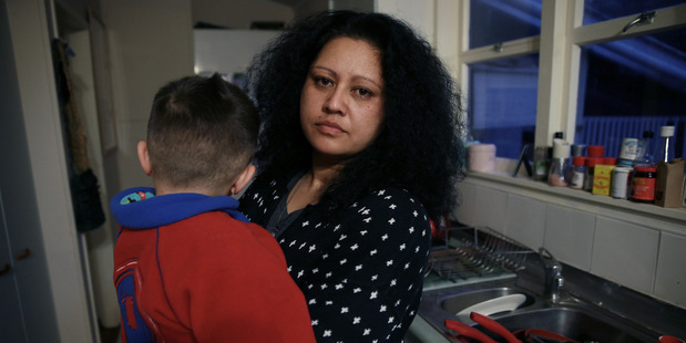 This solo-mum has six children and relies on food parcels from The City Mission. Photo / Doug Sherring
