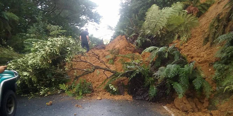 Slip on State Highway 30 near Whakamaru during Cyclone Cook. Photo/File