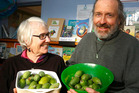 Margi Keys and John Milnes from Sustainable Whanganui get ready for the Feijoabulous Festival. Photo / Bevan Conley.